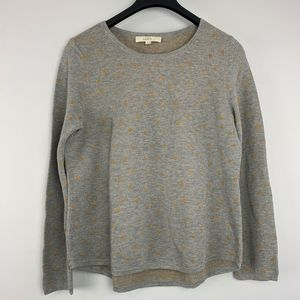 LOFT   Gray  Sweater with Gold Polka Dots - XL